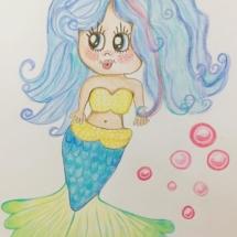 Mermaid, cartoon, illustration, pencil, sketchbook, sketch, cute, kawaii, chibi, anime, japan, nautical, kitsch, kids,